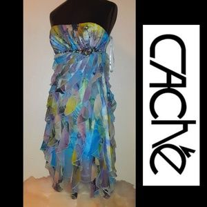 Very Rare! NWOT💎Cache Crystal Ruffle Dress!